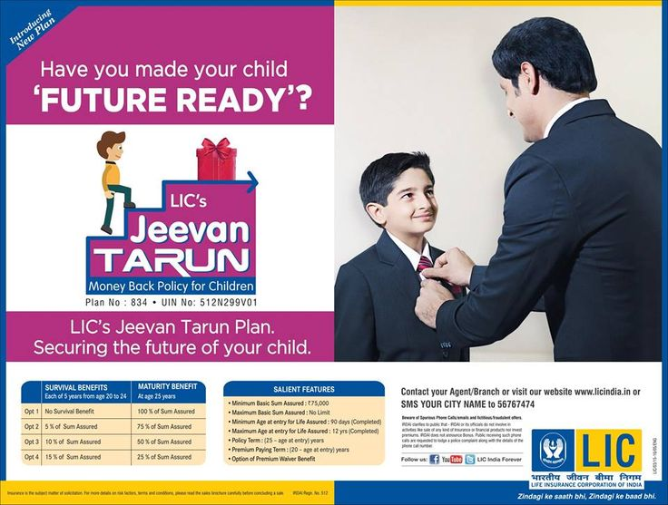 LIC Jeevan Tarun Policy (Table 834) is children money back plan.LIC Jeevan Tarun policy is non-linked, with profit money back plan.