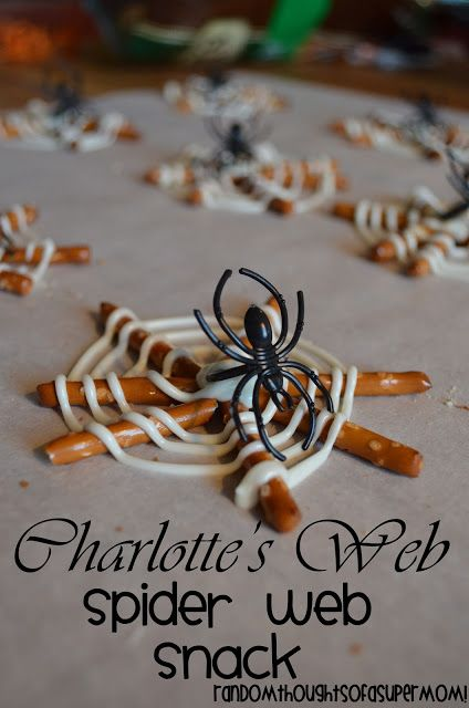 *Random Thoughts of a SUPERMOM!*: Charlotte's Web Spider Web Snack.  Using a spider ring is such a great idea.  Plus, they broke the pretzels smaller instead of leaving them whole.  Gotta remember that.