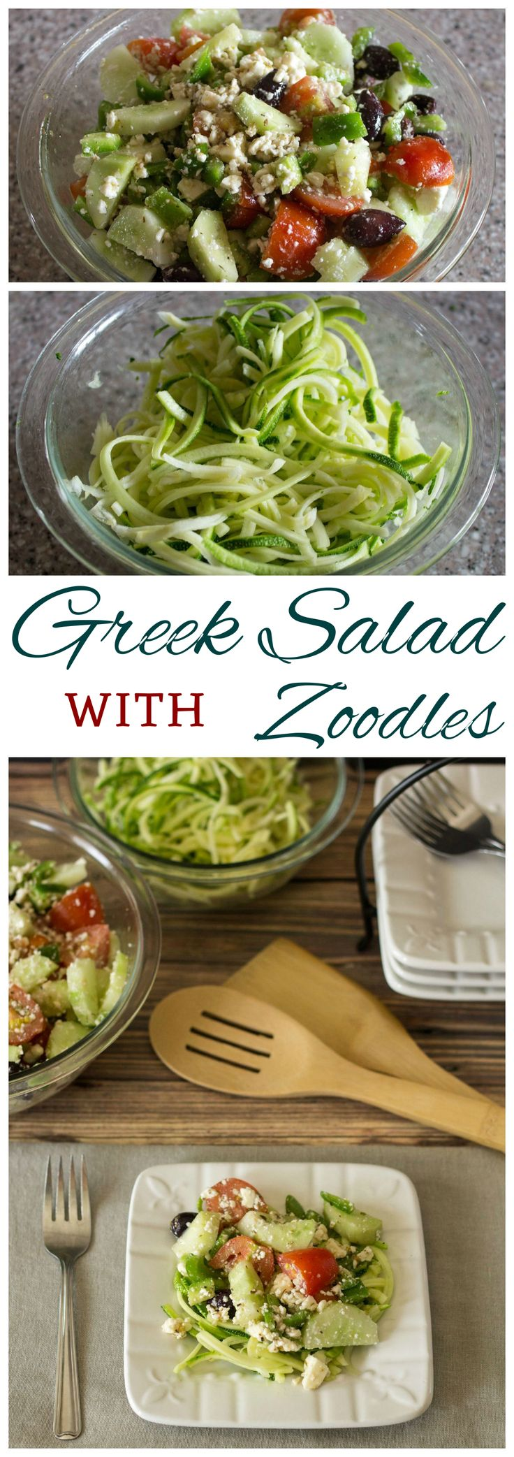 Low Carb Greek salad is a great way to use up garden vegetables. Toss the basic ingredients in Greek salad dressing then serve over fresh gluten free zucchini zoodle noodles.
