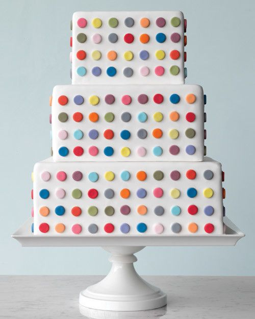 "The Inspiration: ""Spot"" series, by English artist Damien Hirst, 1990sThis offbeat number -- perfect for a contemporary wedding where fun is the focus -- mirrors the artist's vivid grids of circles set against white canvas. Assistant food editor Elizabeth Colling punched out multicolored fondant dots using a round pastry tip and attached them to a white-fondant cake using a gum-paste solution.See the original piece of artwork and the inspiration for this cake."