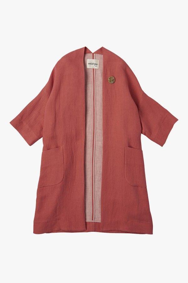 Giacca kimono in misto lino
