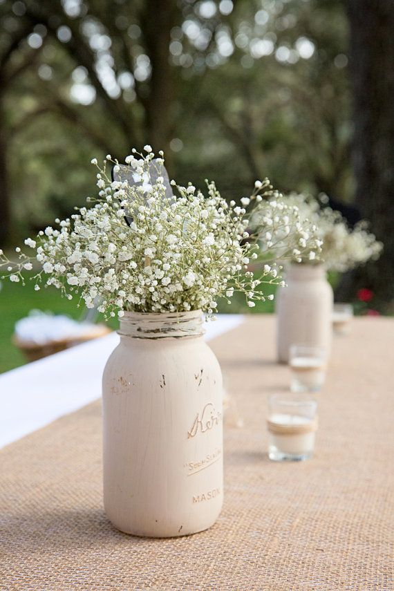 Distressed mason jar painted mason jar centerpiece for Mason jar wedding centerpiece ideas