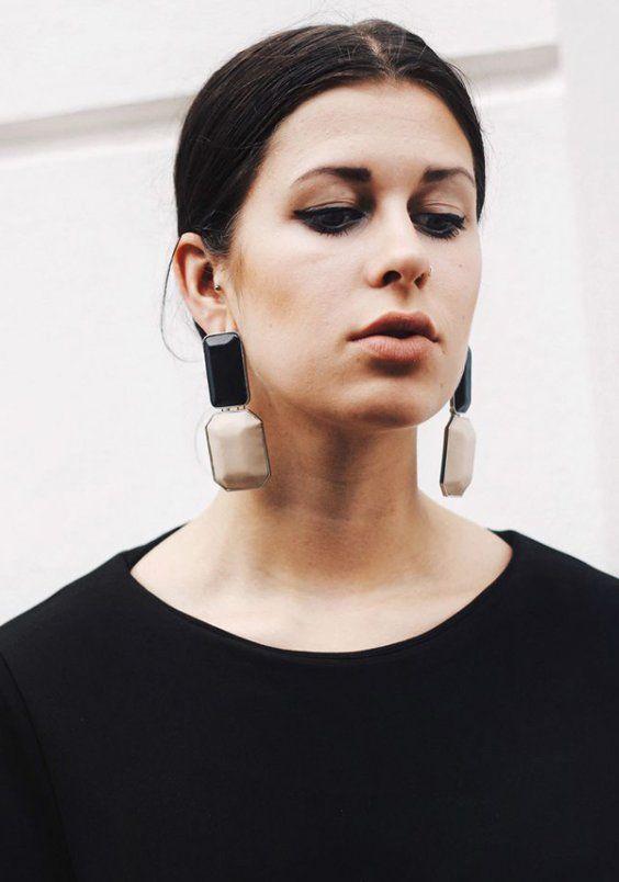 Nude earrings fashion lookbook