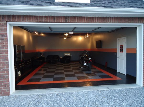 "harley davidson garage ideas | The Harley Room"" garage, A three car garage walled off into a two car ...Harley floor"
