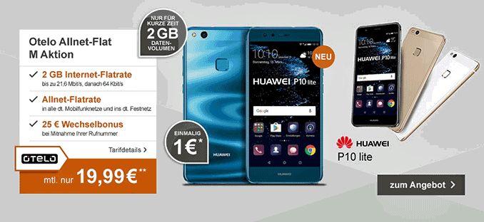 Günstiger Vertrag Otelo Allnet-Flat M Aktion mit Handy Huawei P10 Lite 32GB LTE für 1,00€ zum Vertrag mit 7,31 € rechnerische monatliche Grundgebühr im D2-Netz und erhalte dafür eine Allnet-Gesprächsflat in alle Netze und eine  LTE Internet-Flatrate 2 GB mit bis zu 21 MBit/s , ab 2000MB Drosselung auf 64 kbit/sek der Vertrag wird im Vodafone-Netz bereitgestellt.   #Android #Smartphone #Huawei #P10lite
