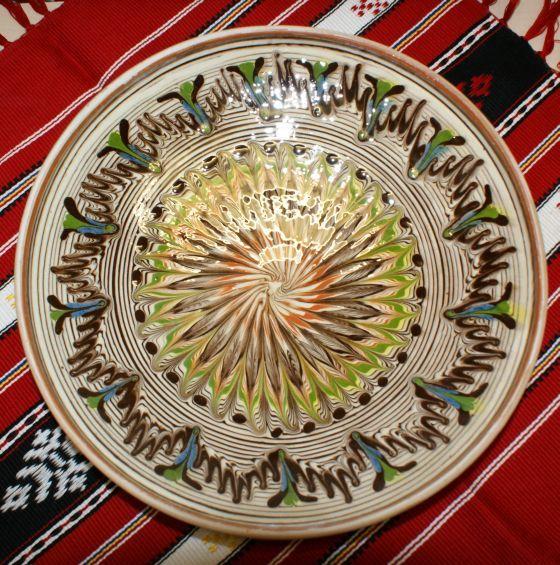 Farfurie ceramica de Horezu, mare, 26 cm
