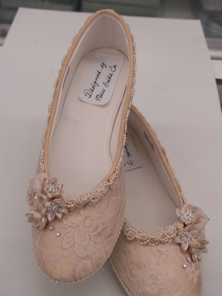 Champagne Wedding Flats Shoes Champagne Lace Vintage-Modern inspired. $128.00, via Etsy.