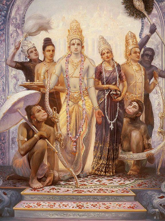 Sita-Rama-Laksmana-Hanuman with the other two brothers Bharat & Shatrughna