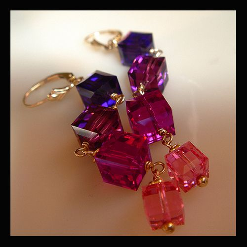 Very Berry Swarovski Cube and 14k Gold Fill Dangle Earrings