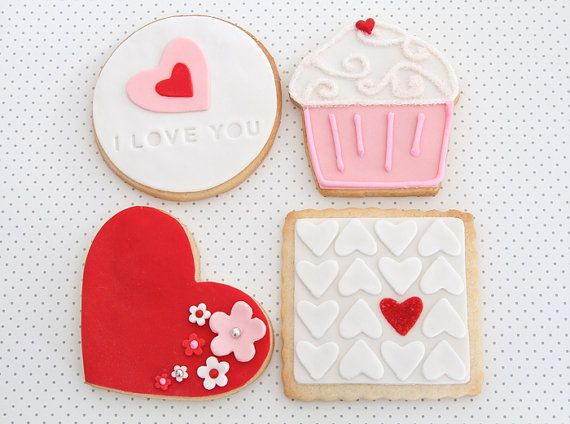 Valentine's Day Cookies by bbsweetslove on Etsy