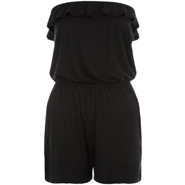 New Look Teens Black Frill Bandeau Playsuit ($5.27) ❤ liked on Polyvore featuring jumpsuits, rompers, black, ruffled rompers, party rompers, ruffle romper, flounce romper and going out rompers