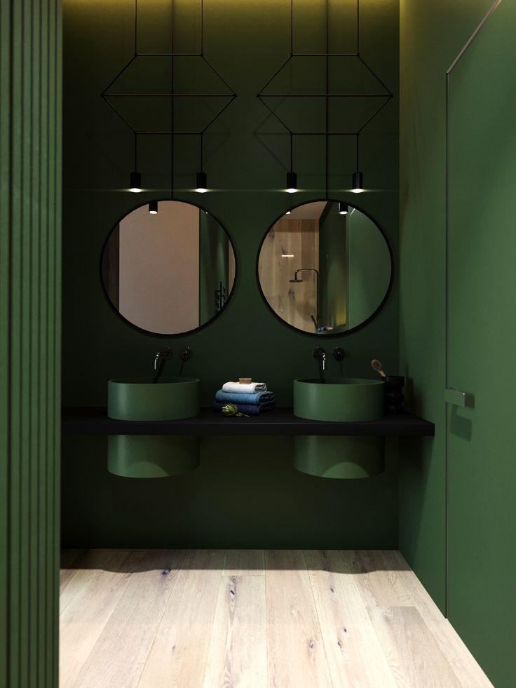 Bathroom design in perfect green