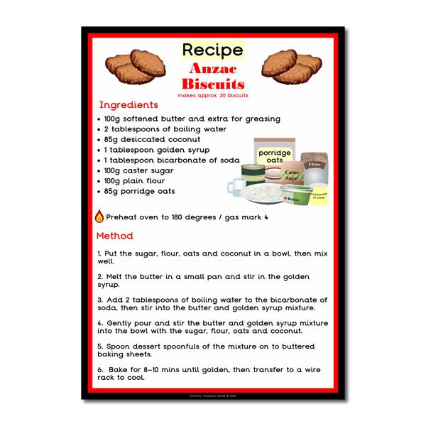 Anzac Day biscuits Recipe for cooking in the classroom - This Cooking with Kelsey resource offers a classroom cooking activity in the form of an A3 poster. Kelsey who is the chef, shows children how to cook Anzac Day biscuits, using a child friendly language and also many illustrations to help the children to read the text. We have lots more recipes, plus 1000s more classroom printables available to download.
