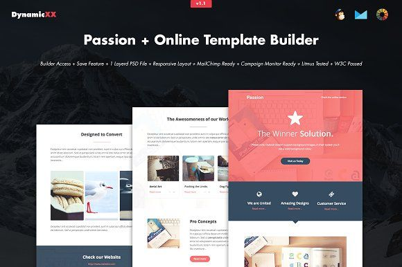 Passion + Online Template Builder by DynamicXX on @creativemarket