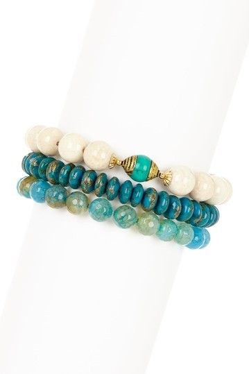 mariechavez Teal & Turquoise Stretch Bracelet Set by Non Specific on @HauteLook