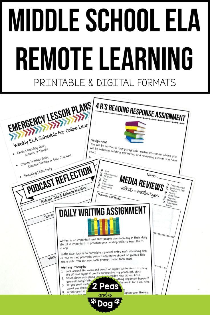 Middle School ELA Emergency Lesson Plans for Distance