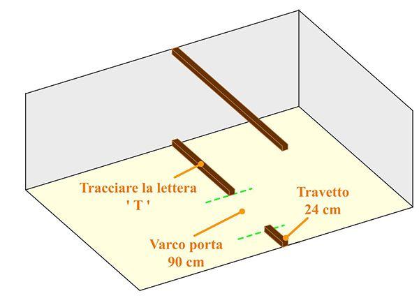 Riferimento della lettera 'T' per l'istallazione dell'ultima trave verticale