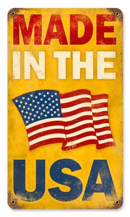 """Vintage Made in the USA Metal Sign. It says allot when a """"Made In The U S A"""" sign is vintage. All things made today should still bear this proud label. Time for ALL Americans to STOP buying goods from other countries, especially those that hate us. >>CHINA, Pakistan, Egypt, etc."""