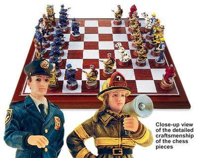 Police Fireman Chess set Popular chess board game set
