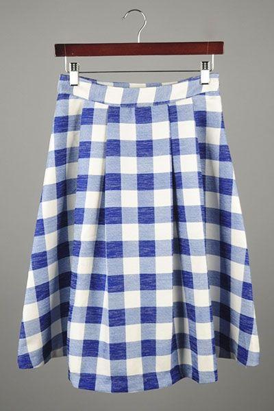 *** New Style *** Flirty Pleated Skater Skirt in Vintage Inspired Gingham Plaid Print.