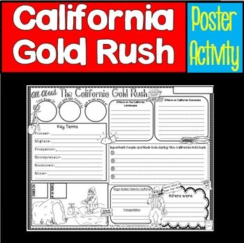 California Gold Rush.... Poster Activity bling, bling :-)Let your students show what they've learned about their studies of The  California Gold Rush by using this 8.5 x 11 poster. This poster will look great hanging outside your classroom, and parents will enjoy reading them when they are sent home.I have marked this poster for grades 4-5, but it may be suitable for other grades.