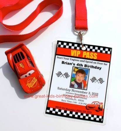 Disney Cars VIP Pass Invitations - You can make this invitation for free then laminate and add a lanyard for a great VIP Pass invitation.