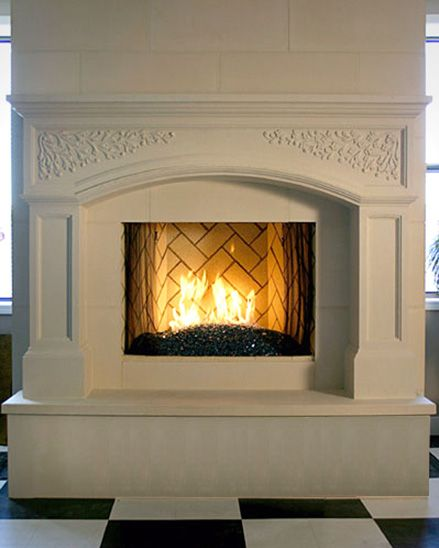 Raised Hearth Fireplace Designs: Traditional Fireplace Marble Surround And Raised Hearth