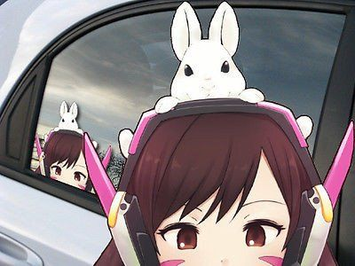 Overwatch d va anime reusable static window cling car decal 001