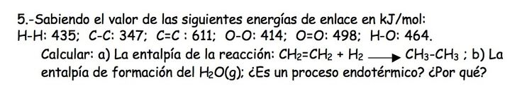 Ejercicio de Termoquímica propuesto en el examen PAU de Canarias de 1999, Setiembre, Propuesta II.