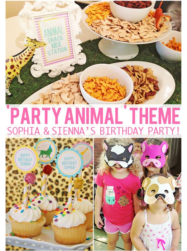 "Here are some great ideas for a ""party animal"" theme from The Busy Budgeting Mama.  Add b+B #balloons, #ribbon, and #plush for extra wow!"