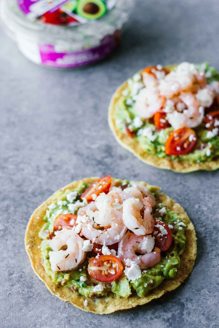 Looking for an easy appetizer or healthy weekday lunch idea? These Shrimp Guacamole Tostadas have you covered! Only 5-ingredients, gluten-free, delicious.
