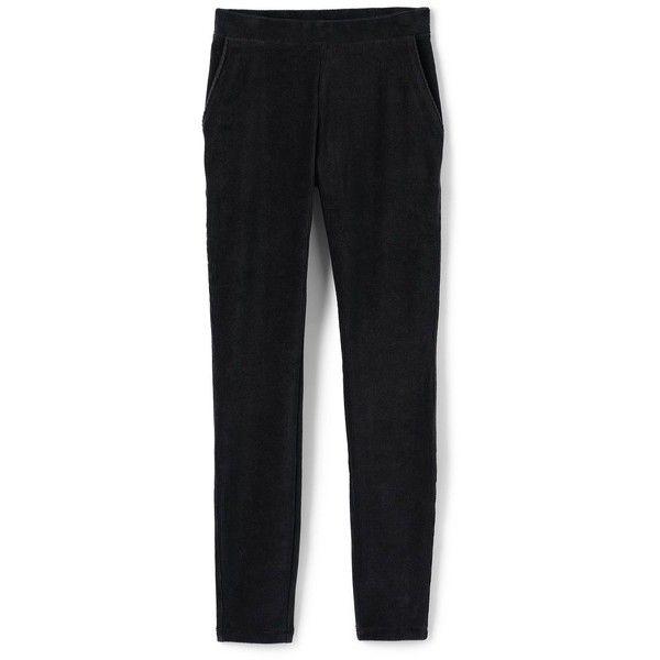 Lands' End Women's Plus Size Petite Sport Corduroy Leggings ($39) ❤ liked on Polyvore featuring pants, leggings, black, elastic waist pants, plus size corduroy pants, corduroy leggings, women's plus size corduroy pants and sports leggings