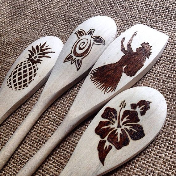 Custom Wood Burned Spoons, Aloha Hawaii design, Natural Wooden Mixing/Baking spoons, Housewarming or New Apartment gift, set of 4