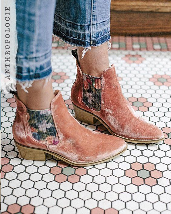 Velvet ankle booties | Shop Anthropologie shoes