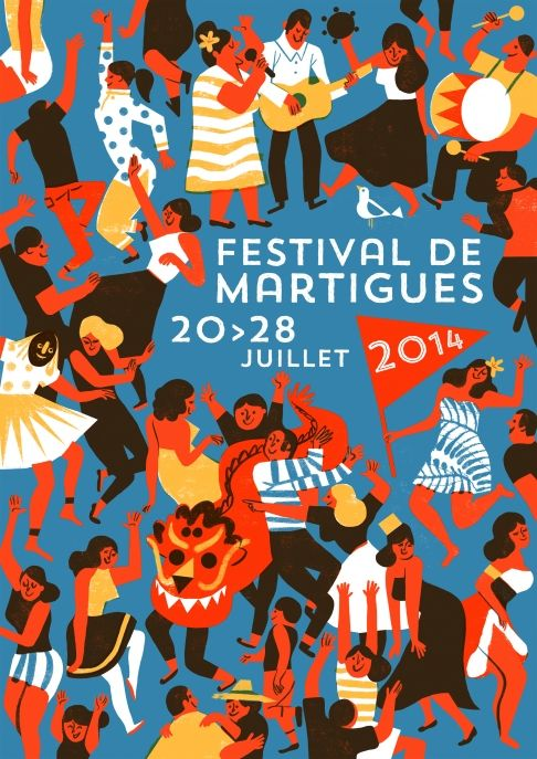 Beautifully handled poster by illustrator Virginie Morgand for the 2014 Festival de Martigues. Love her style and incidental patterning.