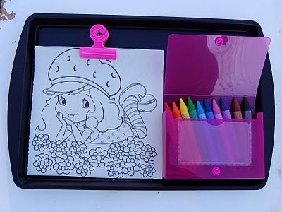 I picked up two cookies sheets at the dollar store and spray painted them with Krylon Chalk Board paint. race track magnetic coloring board magnet fun car busy buddy toddler kid craft summer play. BRING COOKIE SHEETS FOR LAP DESKS! Brilliant!