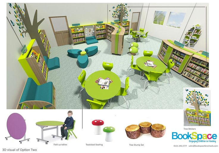 3D visualisation of woodland themed school library design. Forest theme. Book trees. Library design service. Primary school library.
