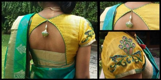 simple contrast blouse with cut work sleeves to go with a pattu sari