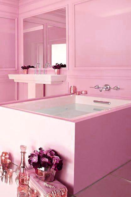 Rosenquarz Projekte Traumhafte Badezimmer Rosa Badezimmer Rosa Badezimmer  Dekor Feminine Badezimmer Modernes Luxurises Badezimmer.