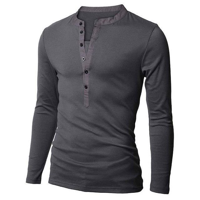New Arrival Men Han edition T-shirt slim fit casual t shirts Pure color long sleeve tees male decorated buckle shirt