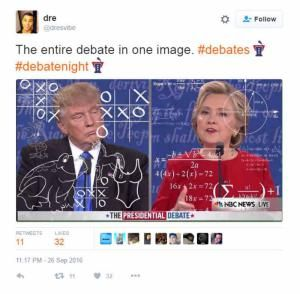 A roundup of the best Hillary Clinton memes and viral images from the 2016 campaign.: The Entire Debate in One Image
