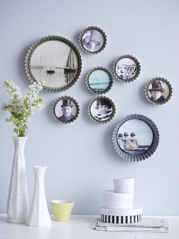 Walls ideas - old pie forms as picture frames