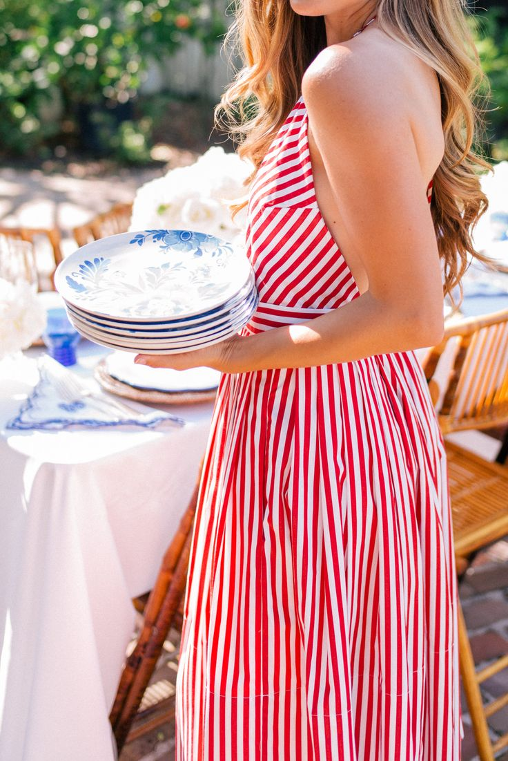 Gal Meets Glam Contributor Series: A Chic Fourth of July Table - Aerin x William Sonoma salad plates & dinner plates; Club Monaco dress
