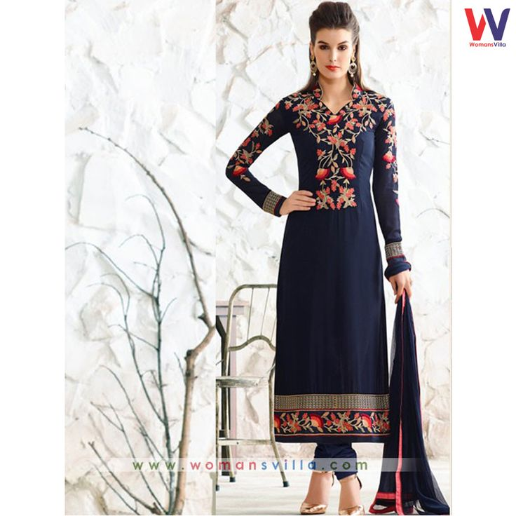 Touchy Blue Colored Georgette Designer Straight Cut Salwar Suit#Womansvilla