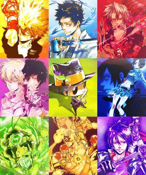 Katekyo Hitman Reborn has a bit of a rainbow/weather theme, don't cha think?