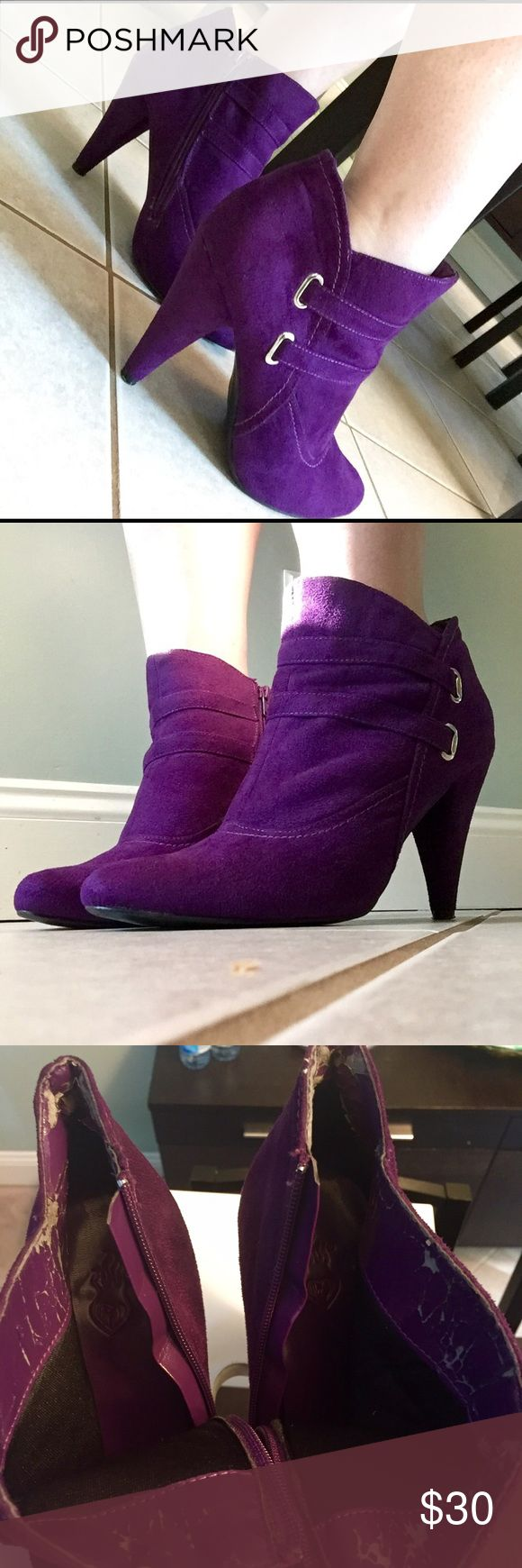 💕💜💘HOST PICK! Purple Ankle Booties. SO CUTE💜💕 I am totally in love with these boots. They were marked as babyphat at the consignment boutique. I'm not convinced. They are a suede-like bright purple microfiber. Excellent condition. A little wear on the heels and soles and just a bit of the interior is made of a pleather that is flaking off. No one will notice that on your feet, of course. Probably a size 9.5 or 10. 💜💘💜 Shoes Ankle Boots & Booties