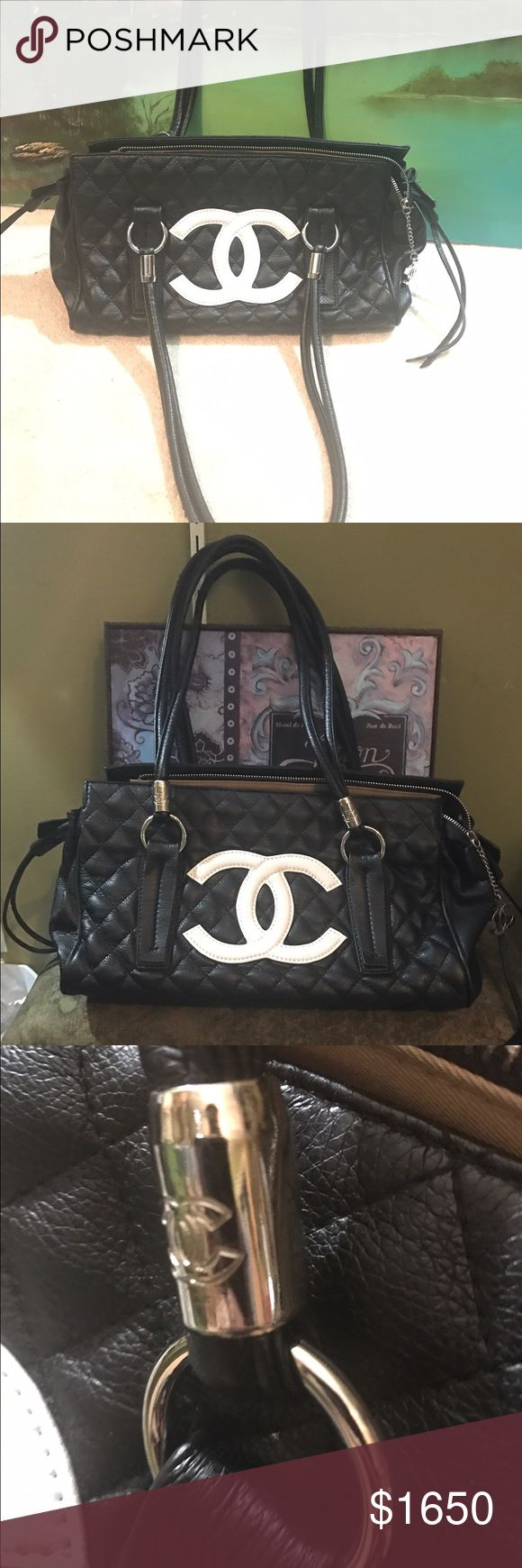 RARE Chanel cambon shldr bag. 100%Authentic MINT!! Black quilted lamb skin shoulder bag. MINT condition with ALL paperwork. 100% authentic. CHANEL Bags Shoulder Bags