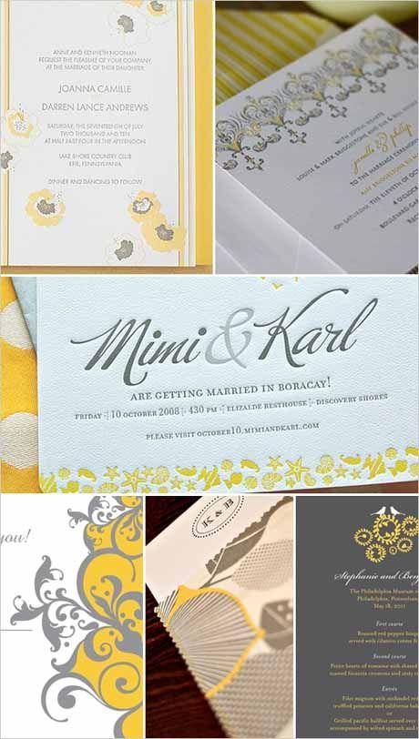 Beautiful yellow and grey wedding stationery
