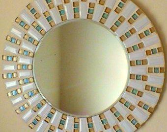 Mosaico hecho a mano hermoso espejo borde biselado cristal