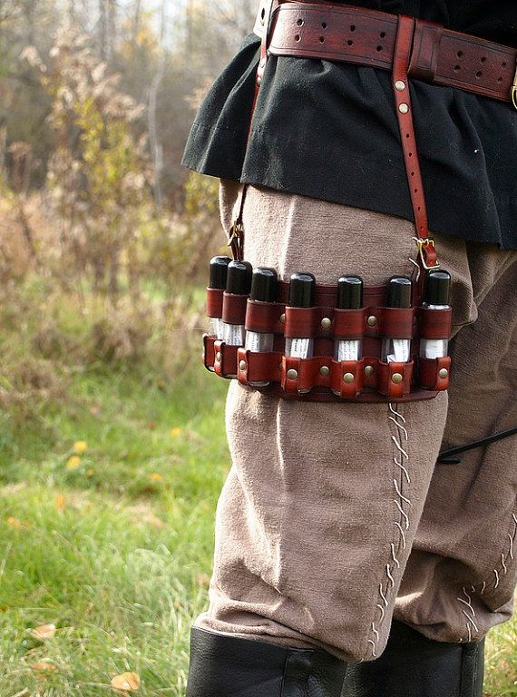 Redbrown Legmounted potion rack for LARP by AgincourtArms on Etsy, $55.00